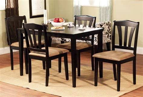 5 dining set wood breakfast furniture 4 chairs and