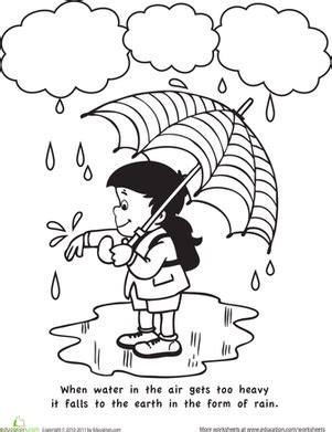 color and learn worksheet education 102 | color learn rain weather seasons