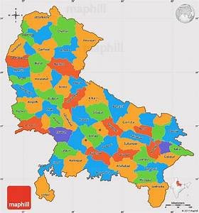 Political Simple Map of Uttar Pradesh, cropped outside