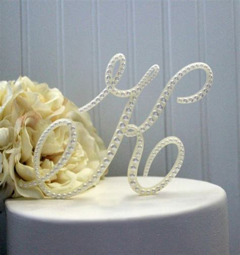 letter cake toppers pearl wedding cake topper shabby cottage chic monogram 22787