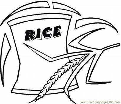 Rice Coloring Pages Grain Breakfast Bag Drawing