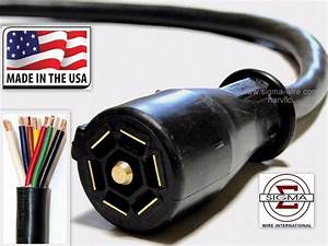 10ft Foot 7 Way Trailer Cord Wire Harness Light Plug