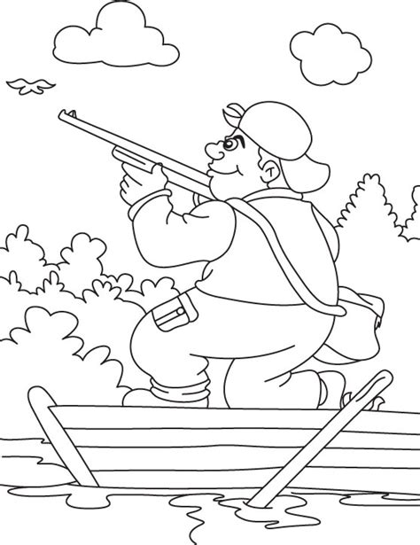 Duck Hunters Boat Page by Hunting Shotgun Coloring Page Hunter In The Boat A Grig3 Org