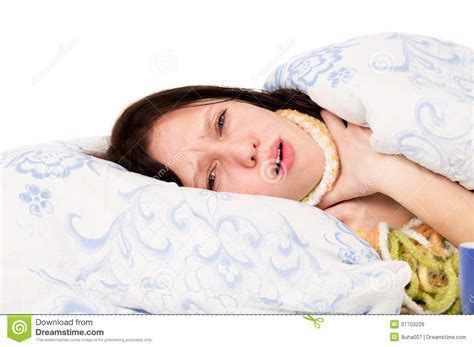 The Diseased Girl Lying On The Bed A Sore Throat Royalty