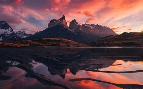 Patagonia, Beautiful Landscape, Mountains, Lake, Red Sky