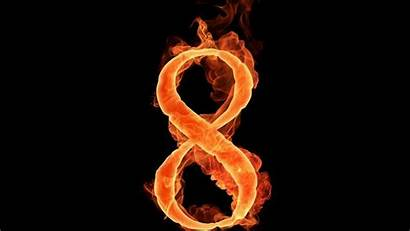 Eight Fire Alphajet Typography Flames Numbers