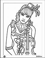 Coloring Wife Blank Violin Template Adults Kitty Hello sketch template