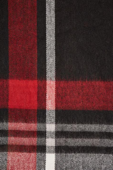 black red check oversized blanket scarf  tassels