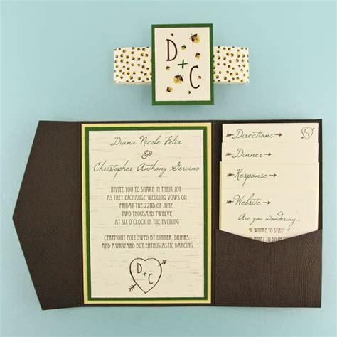 woodgrain  firefly pocket invitation cards pockets