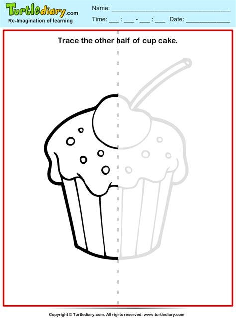 trace cupcake worksheet turtle diary