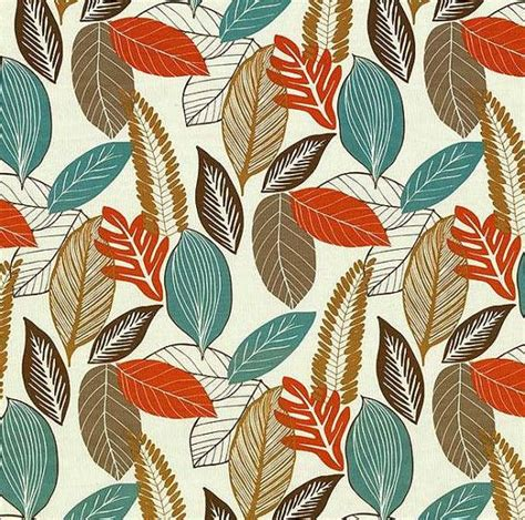Blue And Orange Upholstery Fabric by Orange Turquoise Brown Leaf Upholstery Fabric Drapery