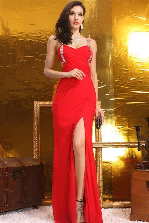 Sexy Sheath Open Back High Slit Long Red Chiffon Prom ...