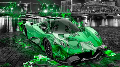 pagani zonda  anime aerography girl city car  el tony