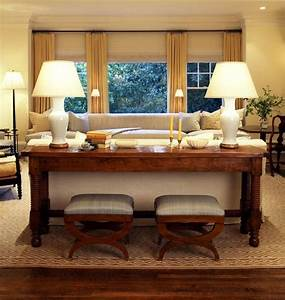 Idea put desk behind loveseat as sofa table put couch for Couch and sofa table in front of window