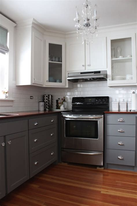 white upper cabinets grey lower gray kitchen cabinet paint colors transitional kitchen 262 | 0223ef06fdf5