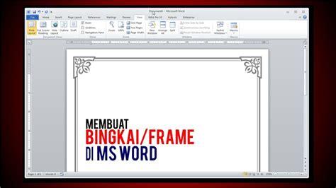 membuat bingkaiframe  ms word tutorial youtube