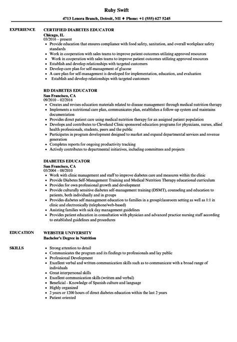 Diabetes Educator Jobs Diabetes Educator Resume Sles Velvet Jobs