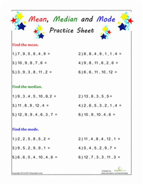 find the median and mode worksheet education