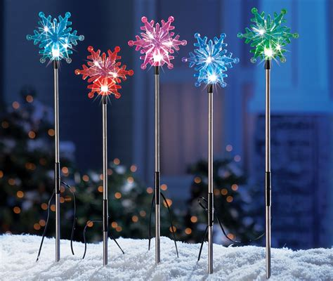 outdoor christmas driveway lights set of 5 color changing solar snowflakes outdoor