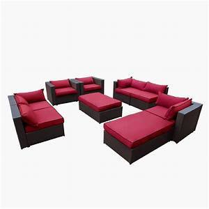 awesome rushreed 3 piece outdoor sectional sofa set red With rushreed 3 piece sectional sofa set