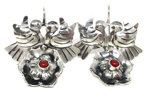 925 Sterling Silver Coral Earrings frida kahlo style taxco mexican 925 sterling silver coral