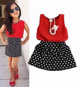 Aliexpress.com  Buy Fashion Red Chiffon Tops+Bowknot Dot Skirt Clothes Girls Baby Kids Outfits ...