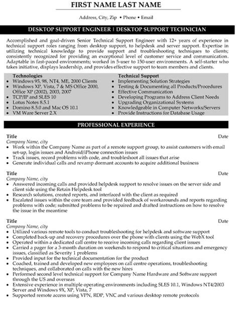 senior desktop support resume sle template