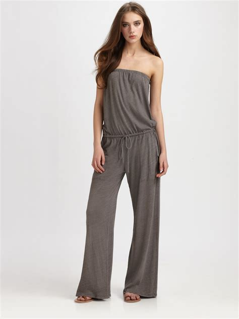 strapless jumpsuit c c california strapless jumpsuit in gray faded black lyst
