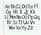 Handwriting English alphabet in upper and lower cases ...