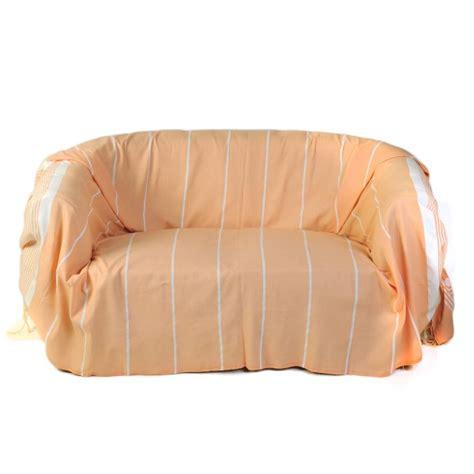 jetee canape jeté de canapé en coton 2 x 3m orange saumon et rayures