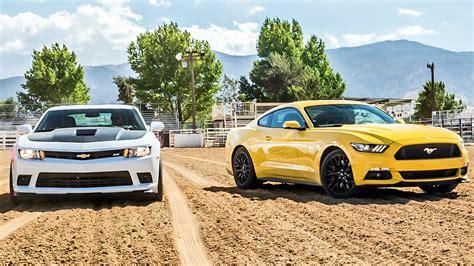 Car And Driver Mustang Vs Camaro by 2015 Ford Mustang Gt Vs 2015 Chevrolet Camaro Ss 2