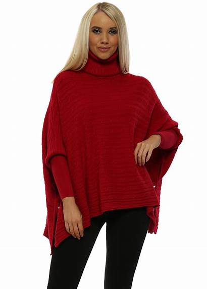 Poncho Knit Cable Jumper Neck Roll Italy