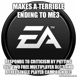 Makes a terrible ending to ME3 Responds to criticism by ...