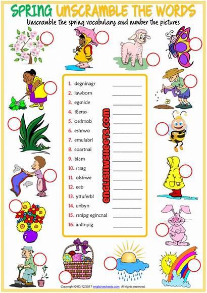 Vocabulary Words Esl Seasons Spring Unscramble Worksheets
