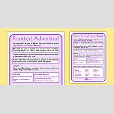 Fronted Adverbial Display Poster  Fronted Adverbial, Display