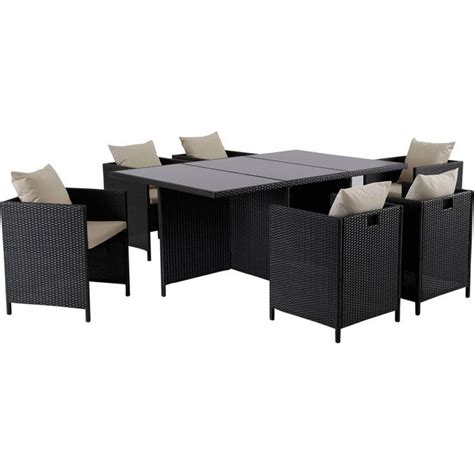 buy woven rattan effect cube 6 seater patio set