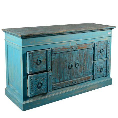 Blue Sideboard by Sky Blue Rustic Reclaimed Wood 4 Drawer Sideboard