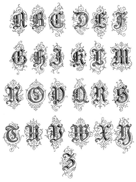 6 Different Old English Fonts Images - Old English Font Generator, Old English Tattoo Fonts and
