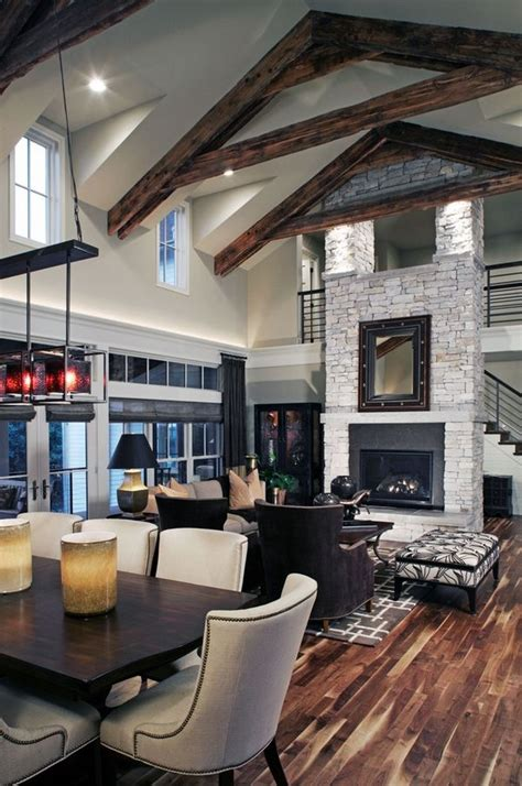 impressive vaulted ceiling design floor  ceiling fireplace open floor plan living room