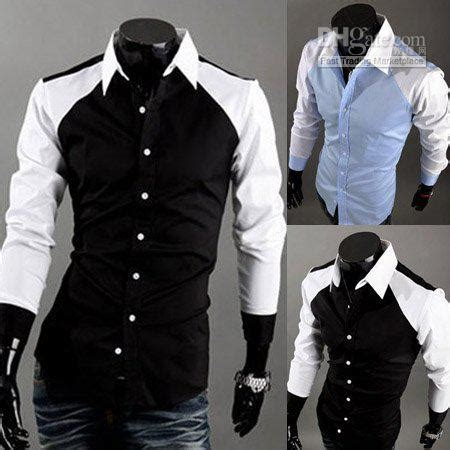 2018 Mens Color Matching Shirts Fashion Fitted Casual