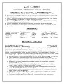 technical support resume sles india help desk technical support resume