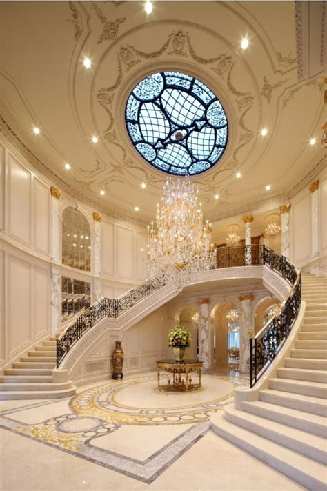 grand foyer horseshoe staircase with chandelier sensational