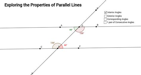 properties of parallel lines geogebra