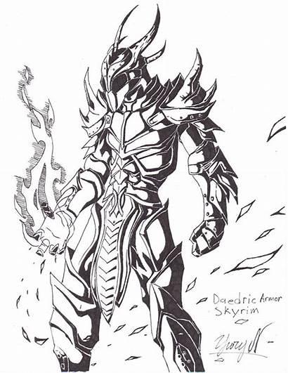 Skyrim Armor Dragon Drawings Deviantart Sketch Coloring