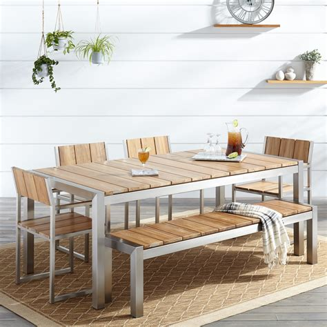 Patio Dining Sets With Bench Seating by Macon 6 Rectangular Teak Outdoor Dining Table Set