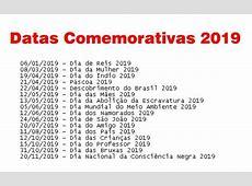 Datas Comemorativas 2019 Calendário