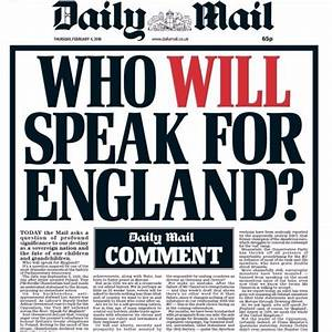 'Who will speak for England?' asks the Daily Mail ...