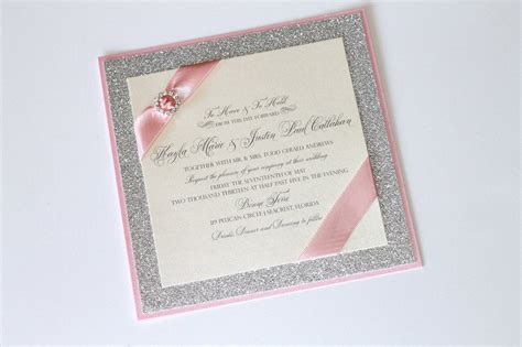 glitter wedding invitations embellished paperie gorgeous silver glitter pink and ivory luxe wedding invitation set