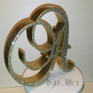 3d monogram wedding cake topper 4 inch glitter sparkle With 3d monogram letters