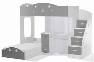 Lit Combiné Bureau : lit combin 2 couchages bureau blanc gris laila design ~ Premium-room.com Idées de Décoration